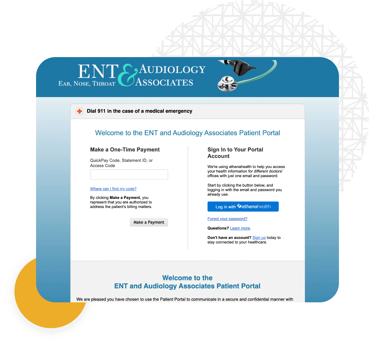 Image of ENT and Audiology's Patient Portal